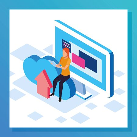 big data colorful design with computer with woman and cloud storage over white background, vector illustration