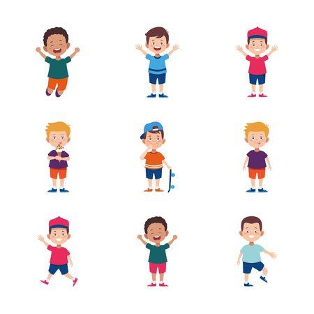 cartoon happy little boys icon set over white background, colorful design. vector illustration Çizim