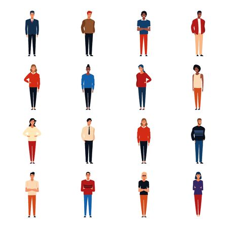 icon set of adult people standing over white background, colorful design,vector illustration