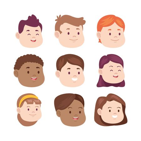 cartoon kids faces icon set over white background, vector illustration Ilustracja
