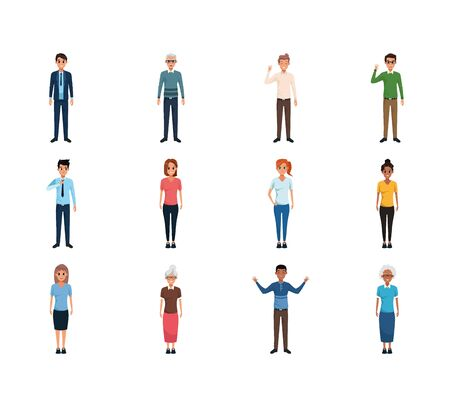 cartoon people standing icon set over white background, flat design , vector illustration Ilustracja