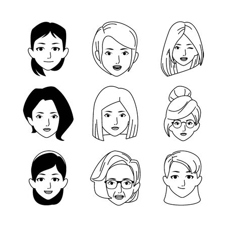 icon set of women faces over white background, flat design, vector illustration Foto de archivo - 140648735
