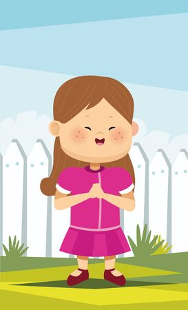 cute little girl in the camp character vector illustration design