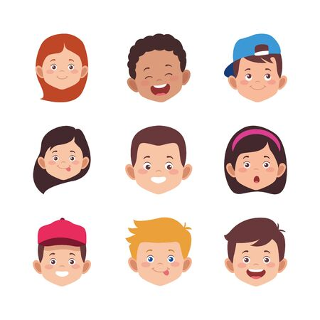 icon set of cartoon kids faces smiling over white background, colorful design. vector illustration