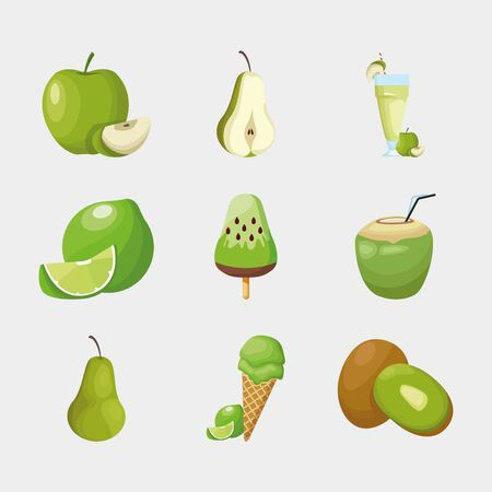 Fruits icon set design, Healthy organic food sweet nature juicy and tropical theme Vector illustration Standard-Bild - 140648782