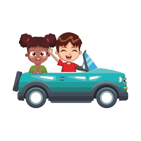 happy girl and boy in a sport blue car over white background, vector illustration Stock Illustratie
