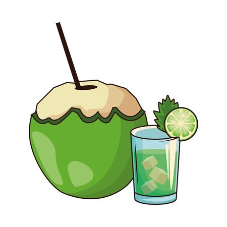 coconut drink and liquor shot icon over white background, vector illustration