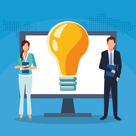 businessman businesswoman computer bulb creativity success start up business vector illustration Ilustracja