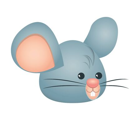 cute little mouse head character vector illustration design Stock Illustratie