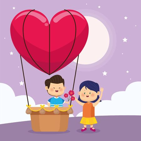 heart air balloon with cute boy giving flowers a girl over purple nightfall background, colorful design, vector illustration