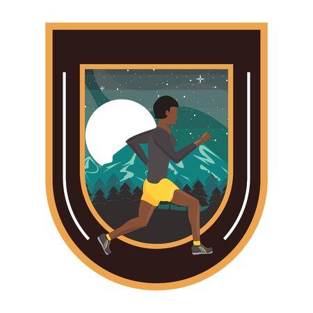 afro man running at night in the field scene vector illustration design Ilustracja