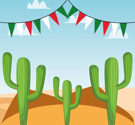 Mexican cactus and banner pennant design, Mexico culture tourism landmark latin and party theme Vector illustration