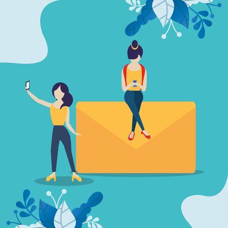 girls using smartphones with social media app vector illustration design Ilustracja