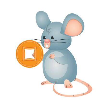 cute little mouse isolated icon vector illustration design Çizim