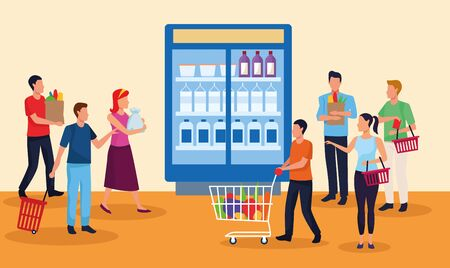 grocery stores with people characters vector illustration design Ilustracja