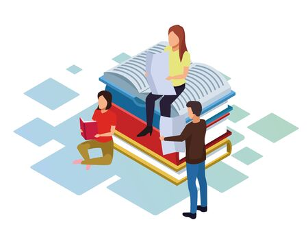 isometric design of people reading around of stack of books over white background, vector illustration