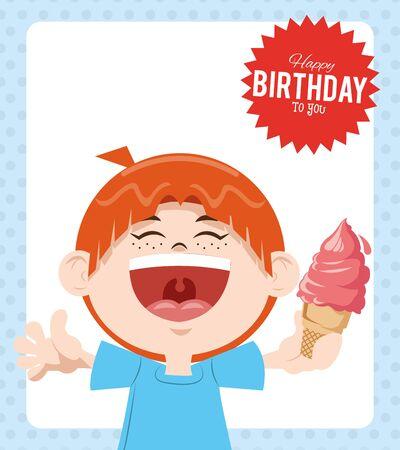 happy birthday celebration party smiling boy with ice cream vector illustration