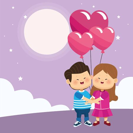 happy couple with hearts balloons over purple nightfall background, colorful design, vector illustration Ilustracja