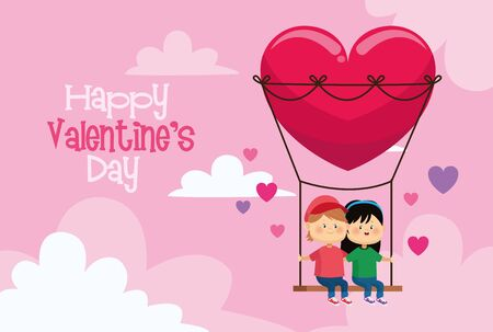 cute little kids couple in heart swing valentines day card vector illustration design