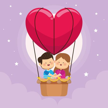 cute little kids couple in balloon air hot vector illustration design
