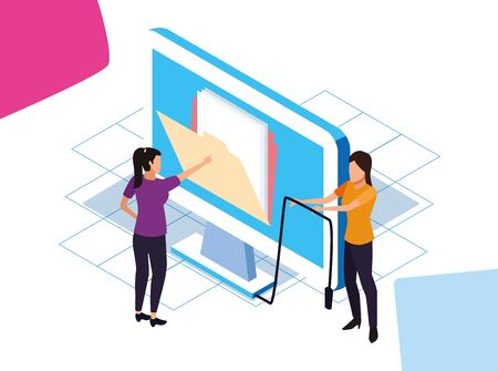 big data colorful design with women with big computer over white background, vector illustration Illustration