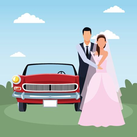 just married couple standing and red classic car over landscape background, colorful design, vector illustration