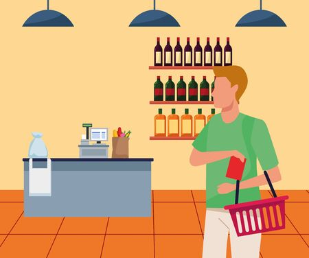 avatar man with supermarket basket at supermarket aisle, colorful design , vector illustration