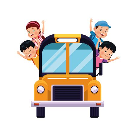 school bus with happy kids icon over white background, vector illustration