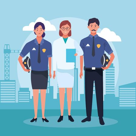 police couple and doctor woman standing over urban city buildings scenary background, colorful design , vector illustration Illustration