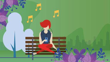 woman using smartphone with social media app vector illustration design Ilustracja