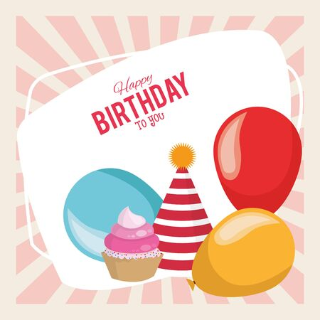 happy birthday celebration party balloons hat and cupcake dessert vector illustration