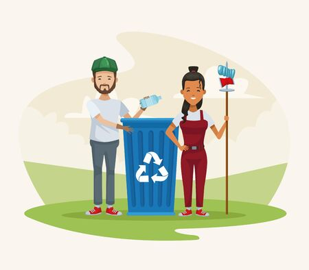 couple recycling in the camp vector illustration design