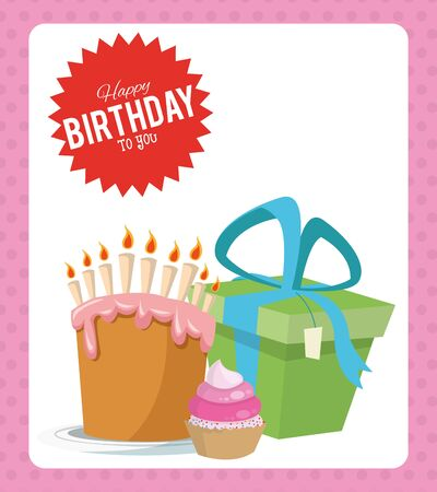 happy birthday celebration party sweet cake cupcake and gift vector illustration
