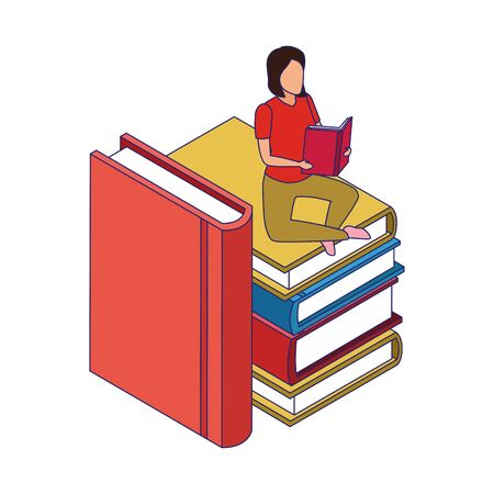 big stack of books with woman reading sitting over white background, vector illustration