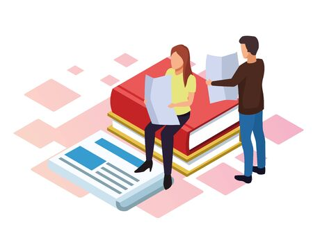 cartoon woman and man reading with big books and newspaper around over white background, isometric and colorful design, vector illustration