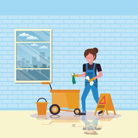 housekeeping woman worker with clean equipment vector illustration design Stock Illustratie