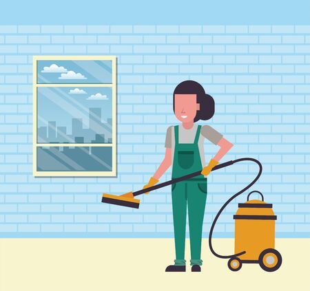 housekeeping woman worker with vacuum cleaner vector illustration design