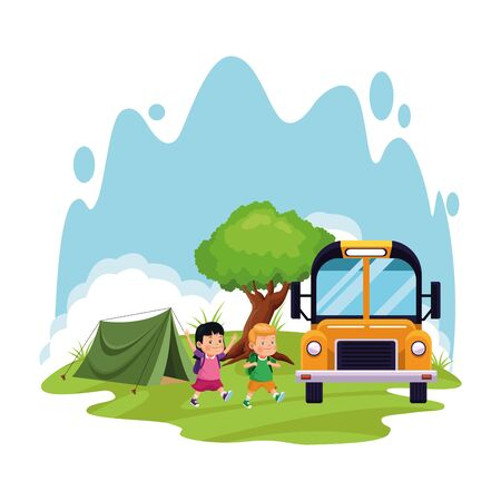 school camping design with cartoon kids and school bus over white background, colorful design , vector illustration