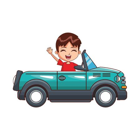 sport car with cute boy waving over white background, colorful design, vector illustration