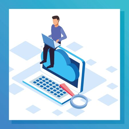 big data colorful design with man sitting on big laptop computer over white background, vector illustration