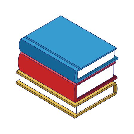 stack of books icon over white background, colorful design, vector illustration