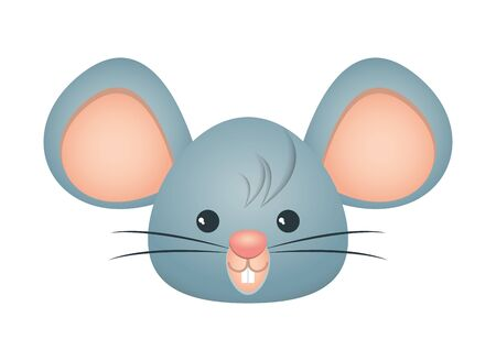 cute little mouse head character vector illustration design Çizim