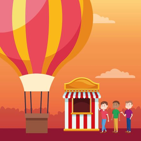 hot air balloon and people standing next to a carnival ticket booth over orange sunset background, colorful design, vector illustration