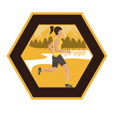 young woman running in the field scene vector illustration design