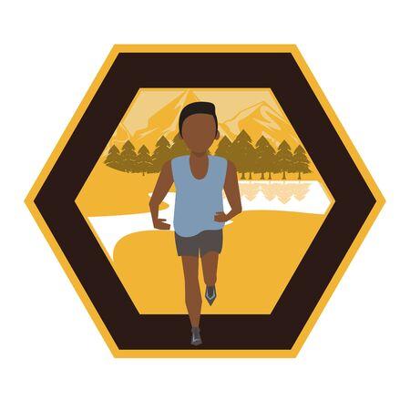 afro man running in the field scene vector illustration design