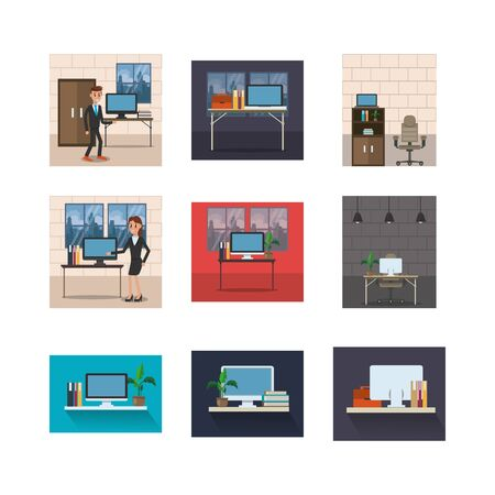 bundle of business people in workplaces vector illustration design