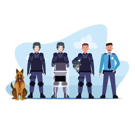 riot police squad and dog characters vector illustration design