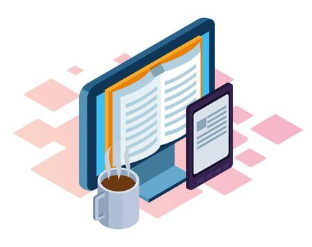 tasse à café et ordinateur avec l'icône du livre à l'écran sur fond blanc, design isométrique et coloré, illustration vectorielle