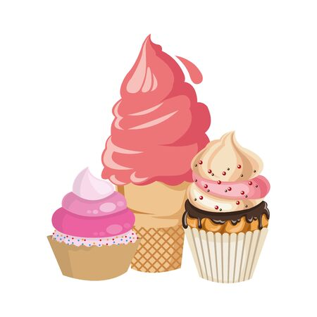 ice cream with cupcakes icon over white background, vector illustration 向量圖像
