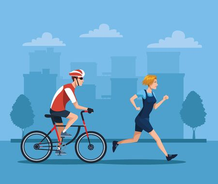 couple athletes in bicycle and running characters vector illustration design Ilustracja